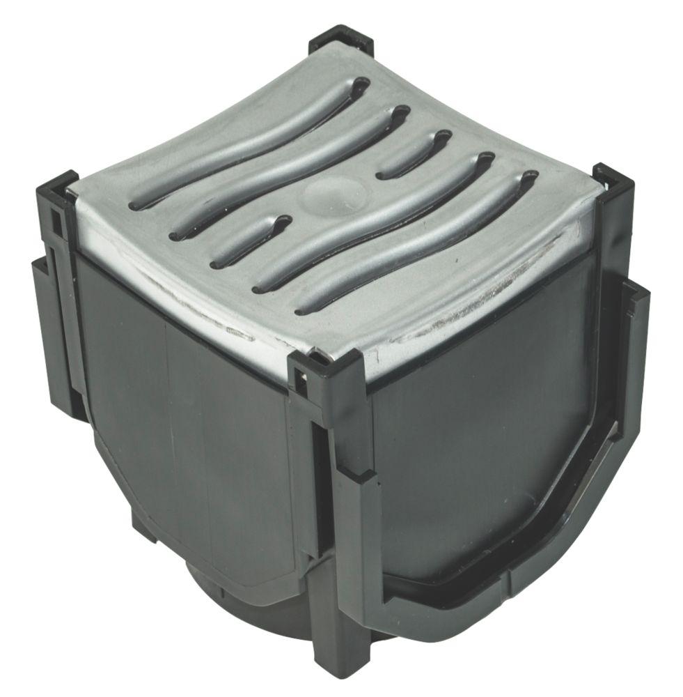 FloPlast FloDrain Quad Connector Drain Cover & Grate Black / Silver 118mm x 136mm