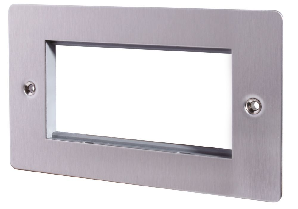 LAP 2-Gang Front Plate with 4 Module Aperture + Earth Stainless Steel