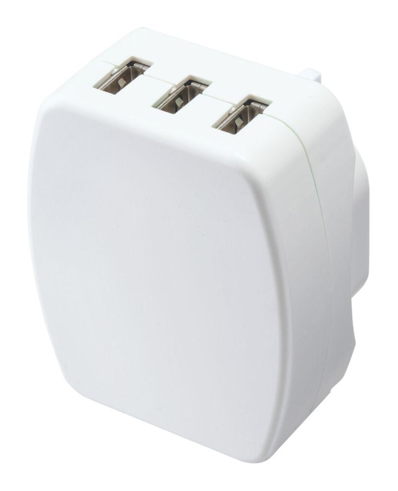 Masterplug  3-Outlet USB Charging Plug Adaptor 3.4A