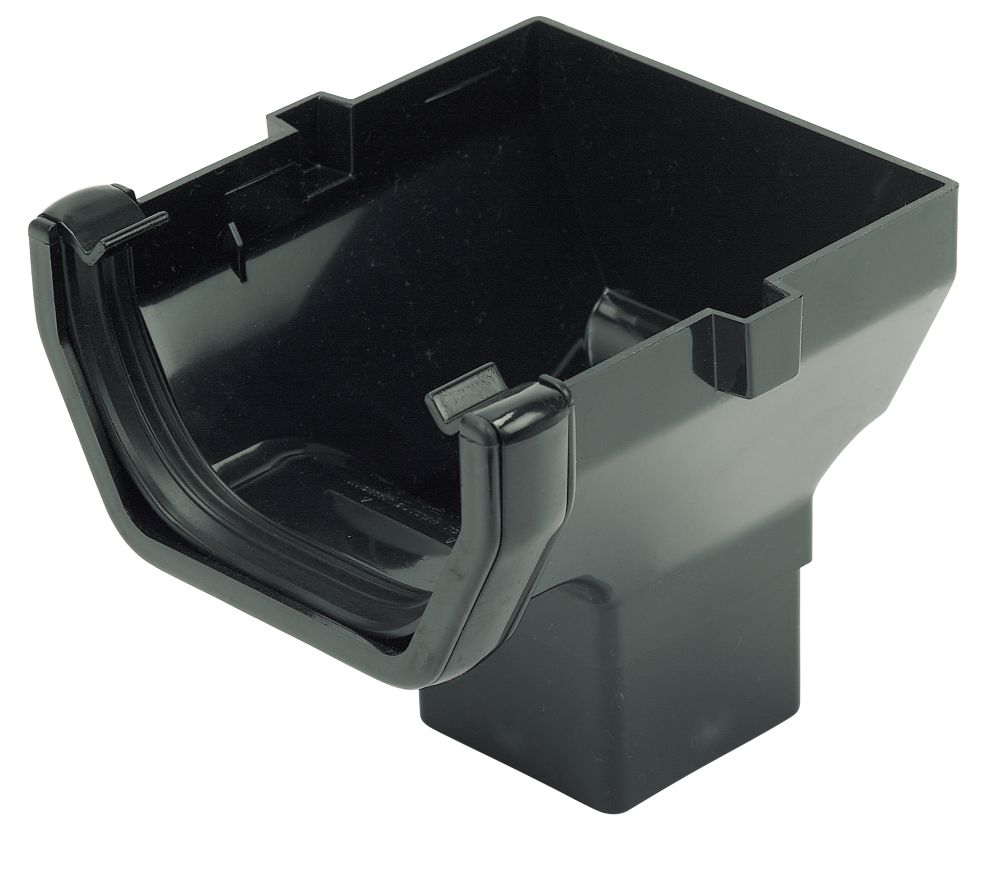 FloPlast Square Line Stopend Outlet 114mm Black