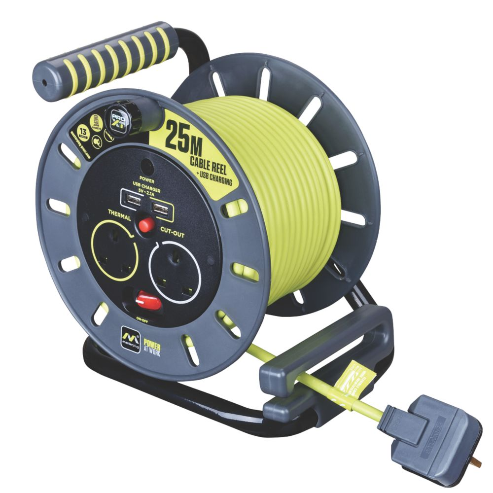 PRO XT  13A 2-Gang 25m Cable Reel + 2.1A 2G USB Charger 240V