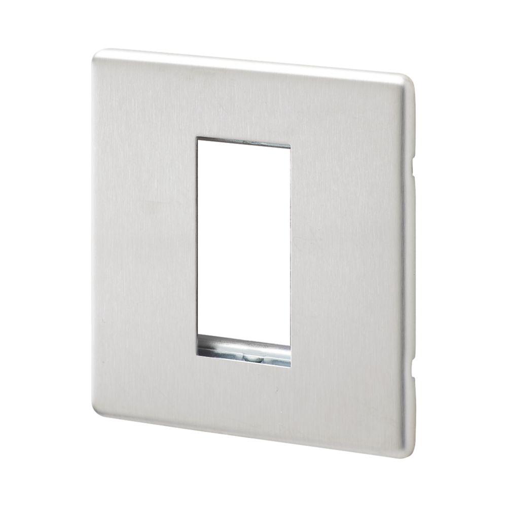 MK Aspect 1-Module Modular Light Switch Surround Brushed Stainless Steel