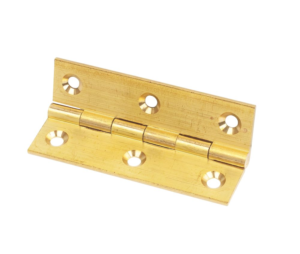 Self-Colour Solid Drawn Brass Hinge 76 x 41mm 2 Pack