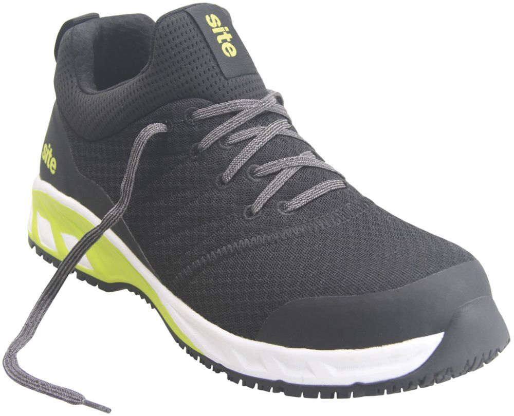 Site Realgar   Safety Trainers Black & Green Size 7