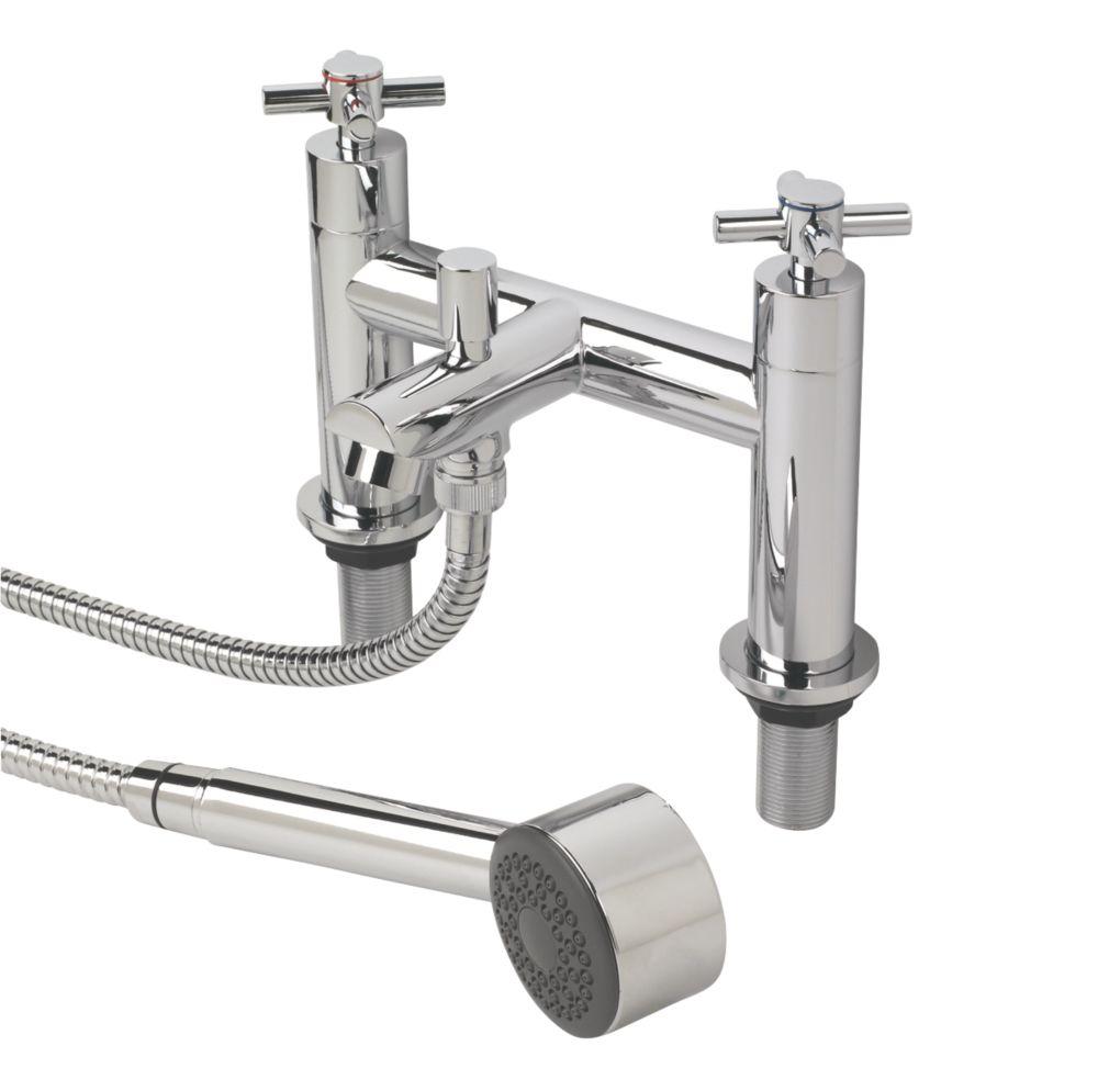 Swirl Minimalist Deck-Mounted  Bath/Shower Mixer Taps Pair