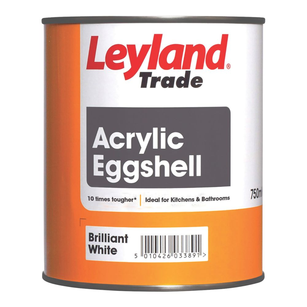 Leyland Trade Acrylic Eggshell Emulsion Paint Brilliant White 750ml