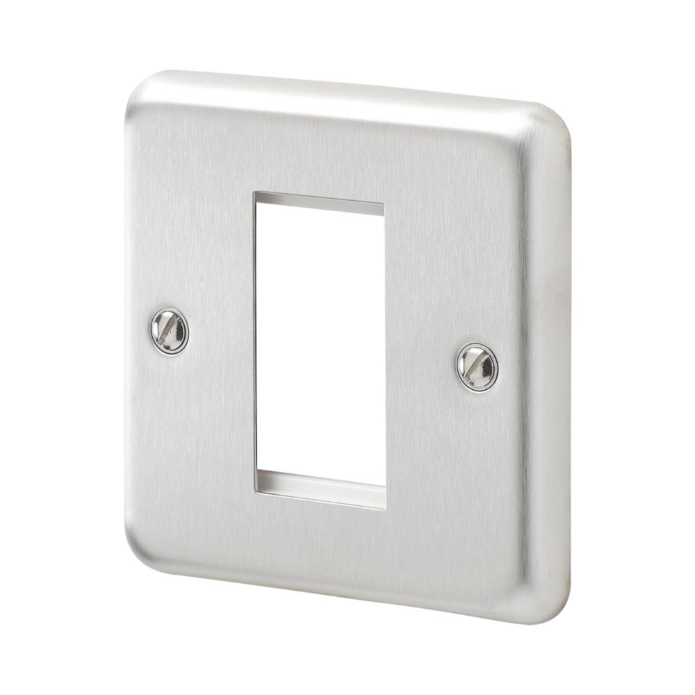 MK Albany Plus 1-Module Modular Light Switch Surround Brushed Stainless Steel