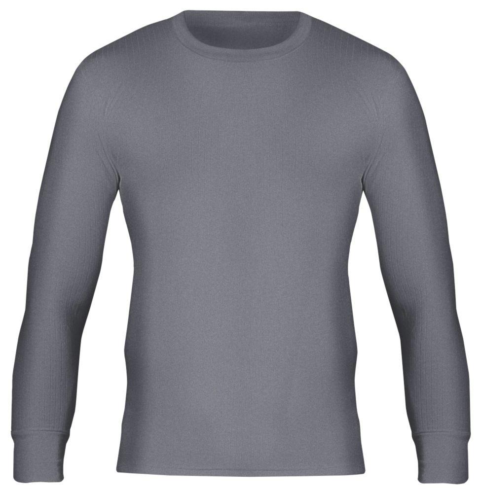 "Workforce WFU2600 Long Sleeve Thermal T-Shirt Baselayer Grey Medium 33-35"" Chest"