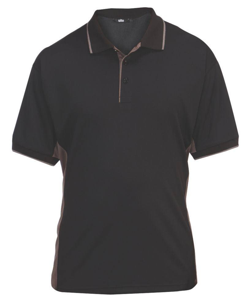 "Site Barchan Moisture Wicking Polo Shirt Black X Large 48½"" Chest"