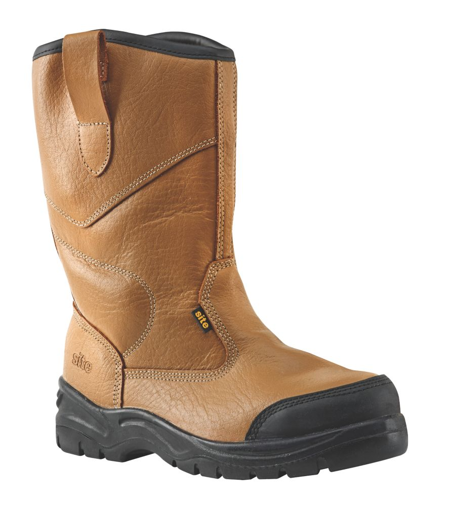 Site Gravel   Safety Rigger Boots Tan Size 7