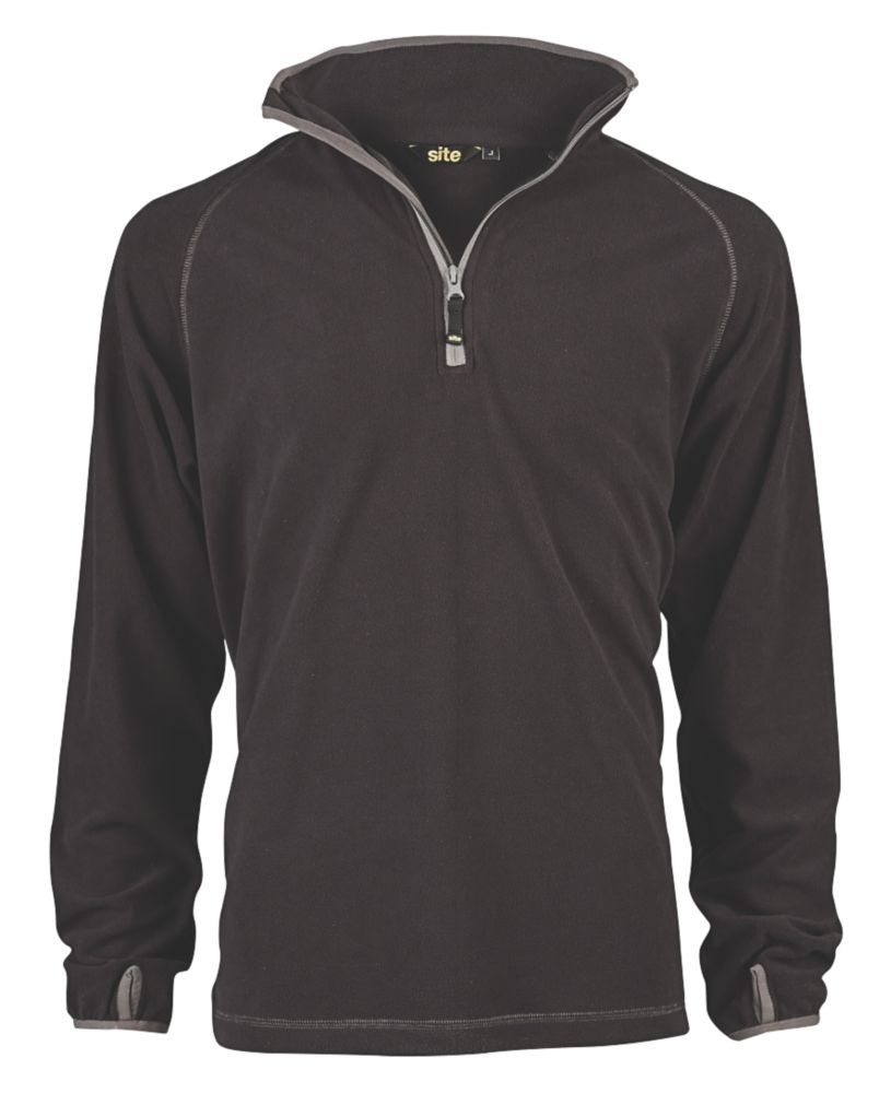 """Site Beech Microfleece Pullover Black Large 45"""" Chest"""