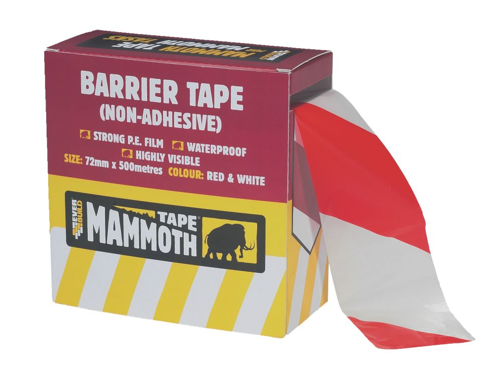 Everbuild Barrier Tape Red / White 500m x 72mm