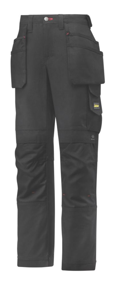 "Snickers 3714 Holster Ladies Trousers Black Size 10 32"" L"