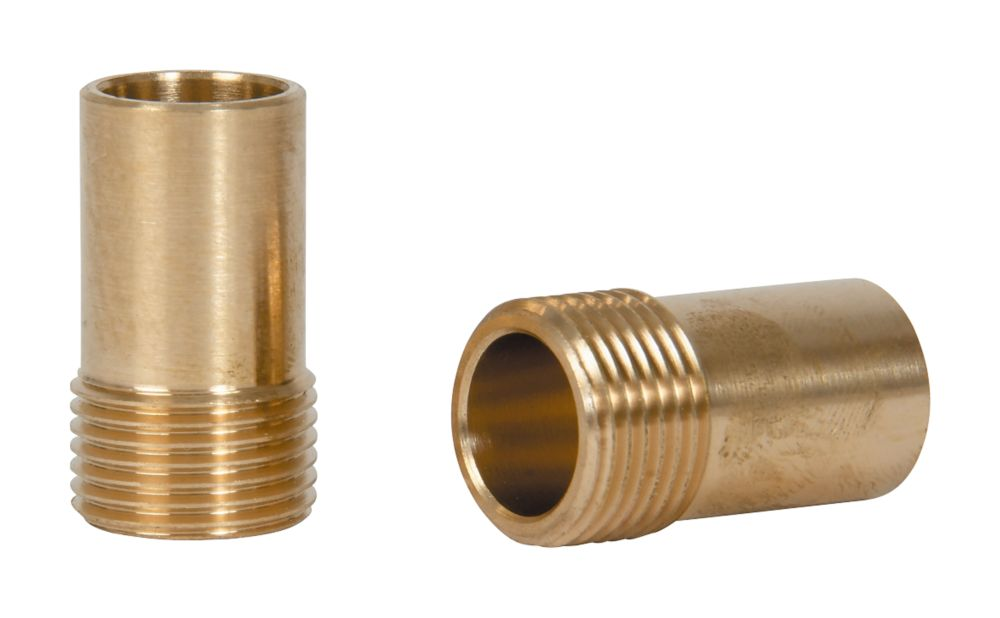 "Tesla  Brass Compression Adapting Flexible Tap Connectors 15mm x 3/8"" 2 Pack"