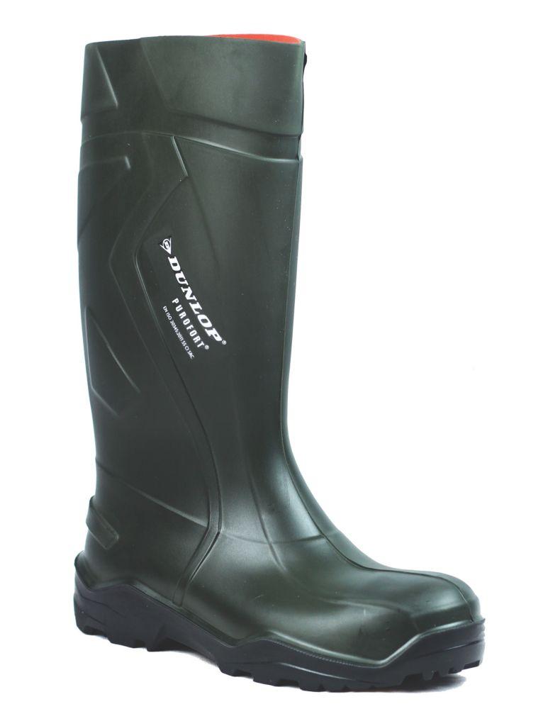 Dunlop Safety Purofort+   Safety Wellies Green Size 5