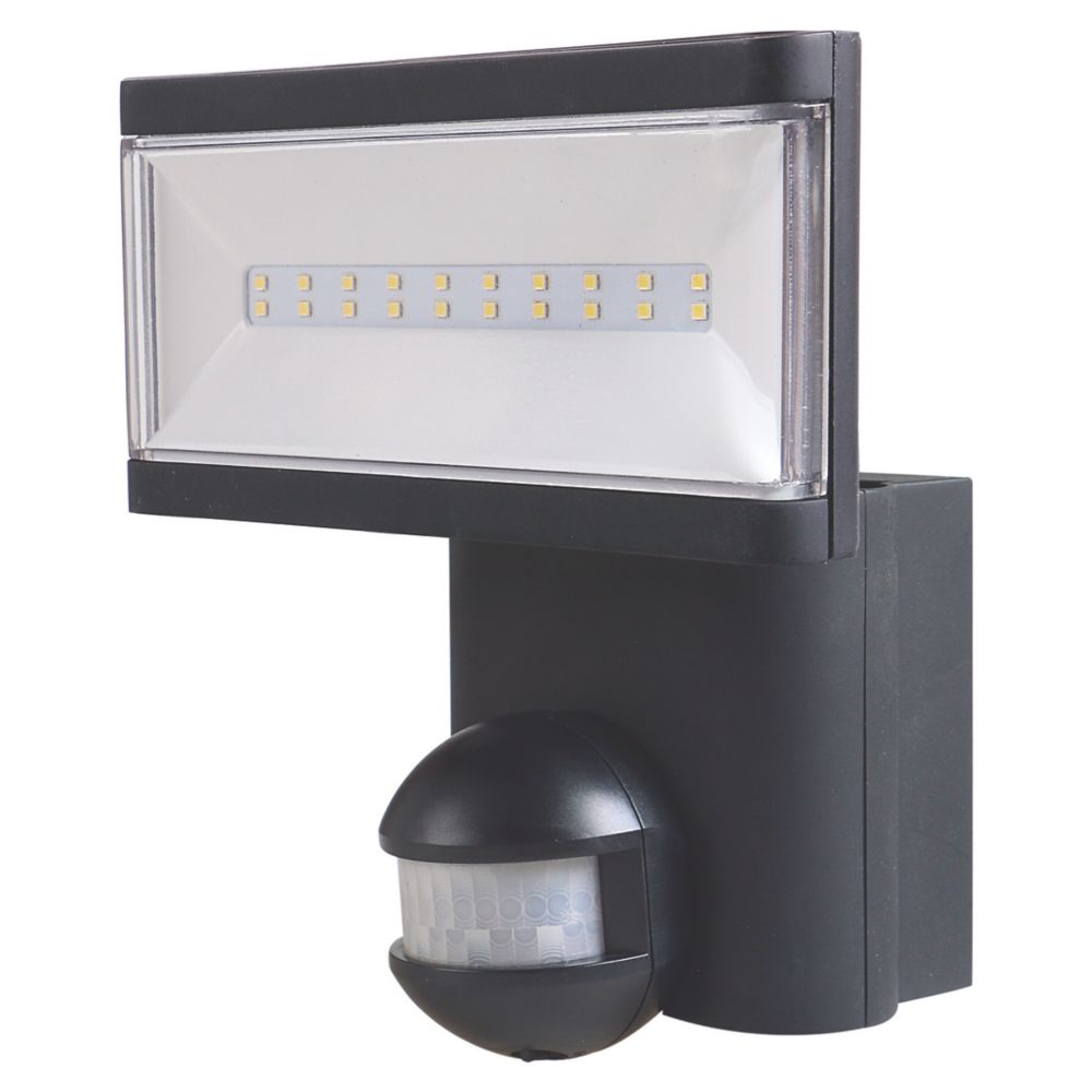 LAP Single LED Floodlight with PIR Black 21W Cool White