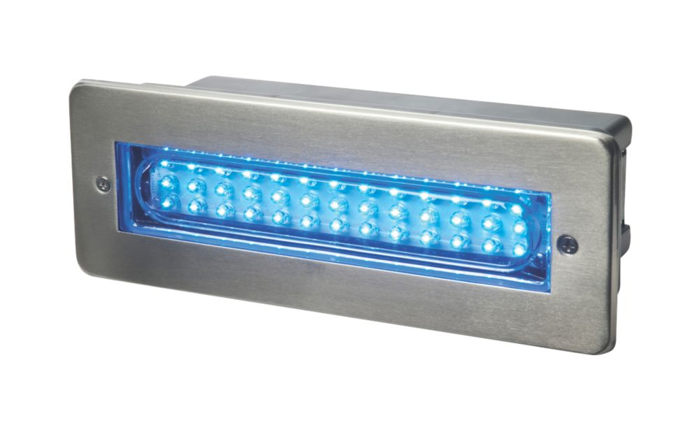 Dakota Blue LED Brick Light Brushed Stainless Steel 2W