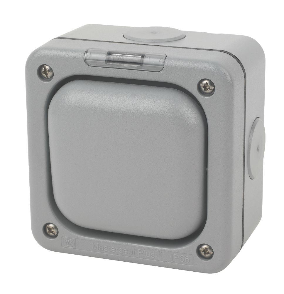 MK Masterseal IP66 10AX 1-Gang 2-Way Weatherproof Outdoor Switch with Neon
