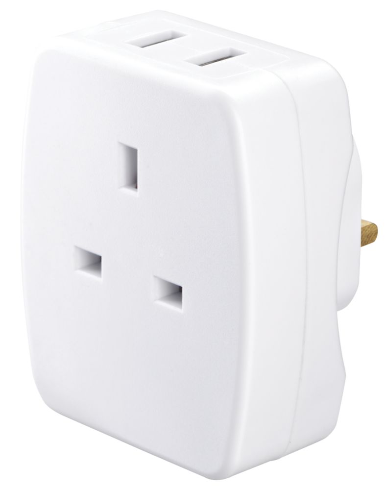 Masterplug  2-Outlet Plug-Through USB Charging Adaptor 2.1A