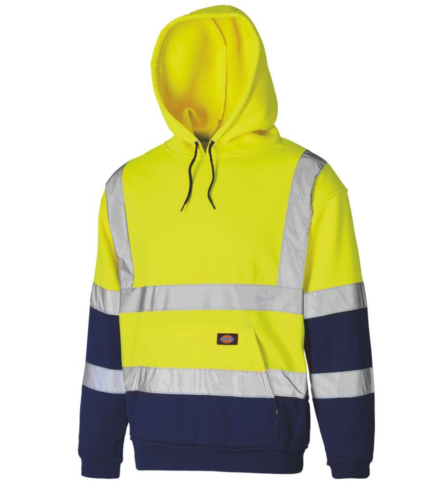 """Dickies SA22095 Hi-Vis 2-Tone Hoodie Yellow/Navy Large 46"""" Chest"""