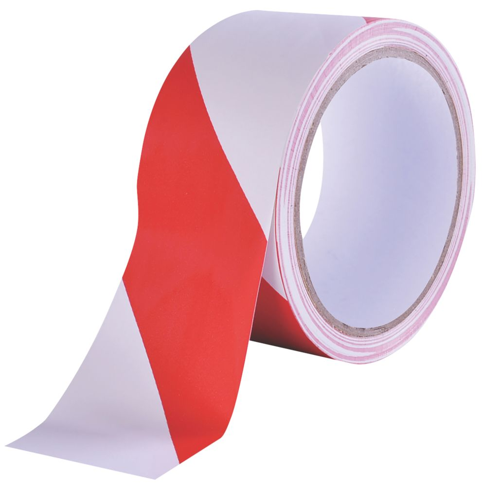 Diall Marking Tape Red / White 33m x 50mm