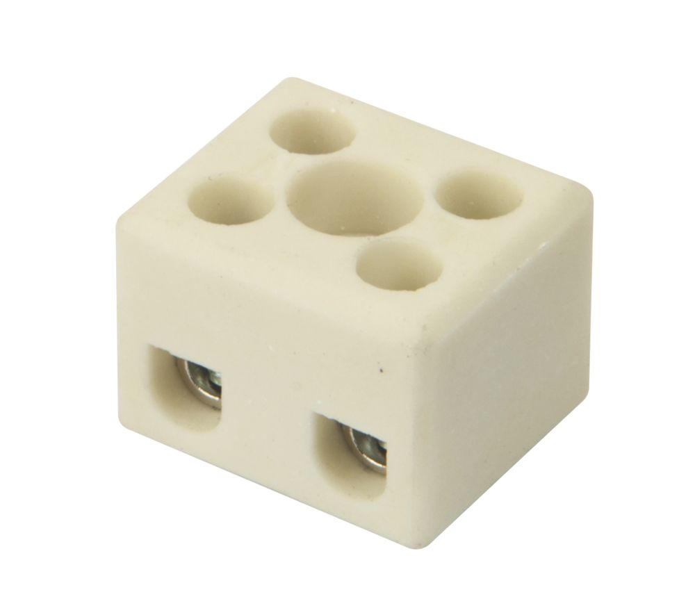 Hylec Double Pole 24A Steatite Ceramic Terminal Blocks Pack of 5