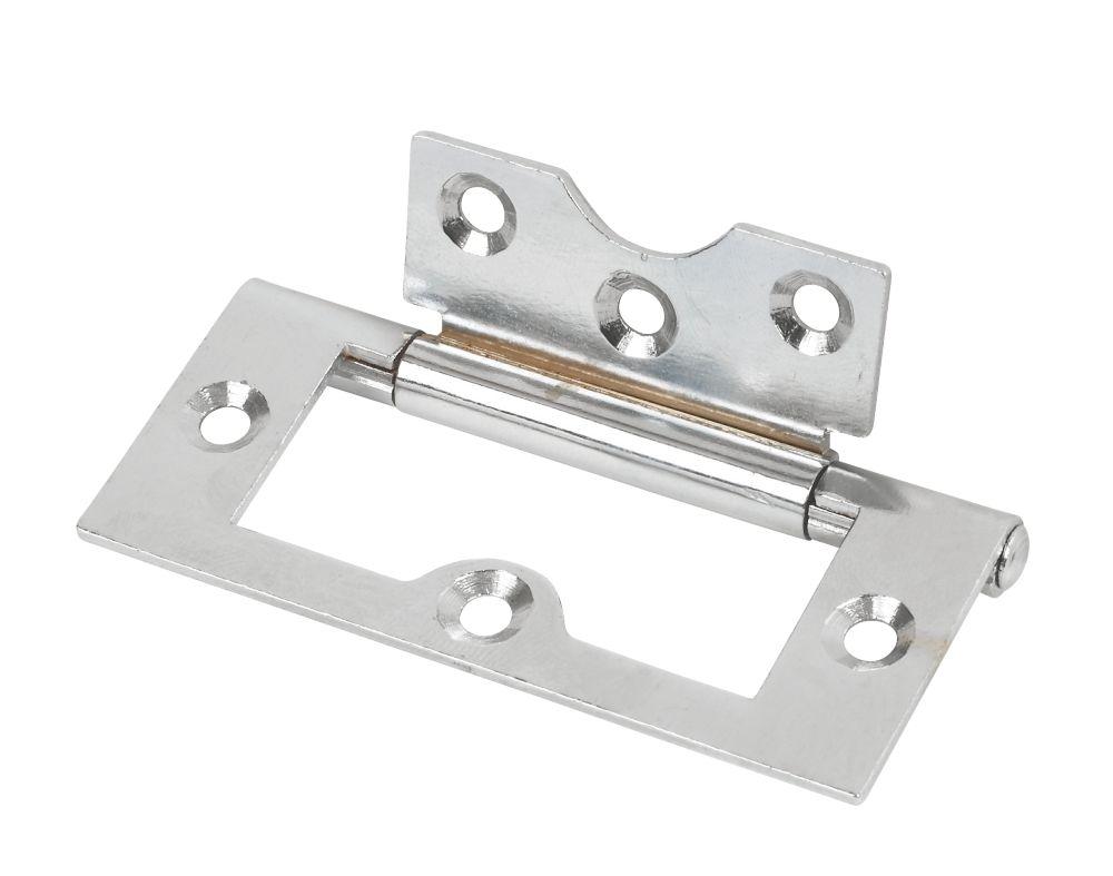 Polished Chrome Flush Hinge 76 x 33mm 2 Pack