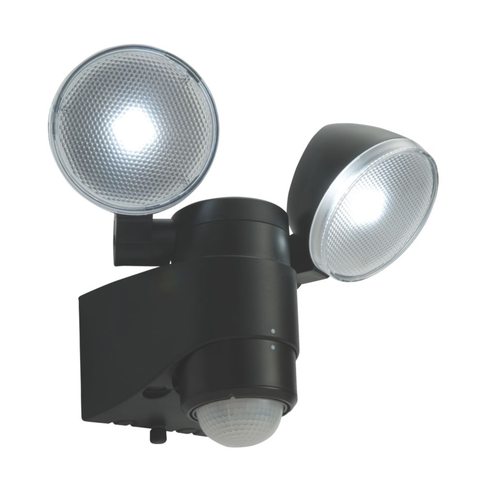 Saxby Laryn LED Floodlight & PIR Black 2 x 2W Daylight