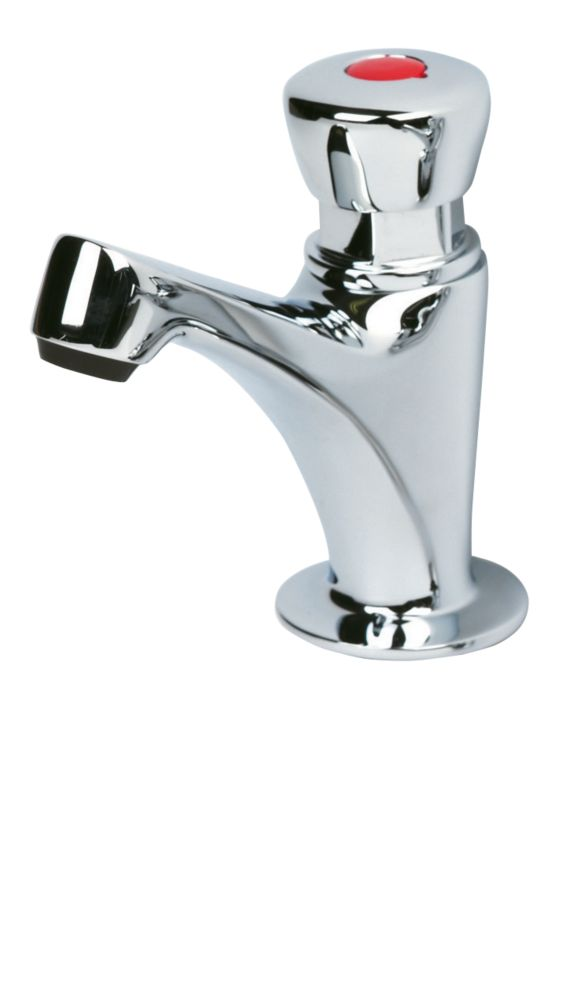 H & C  Self-Closing Bathroom Basin Pillar Tap Chrome