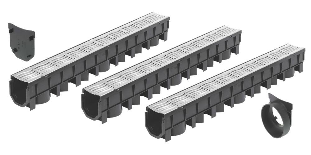 FloPlast FloDrain Galvanised Garage Black / Silver 115mm x 1012mm 3 Pack