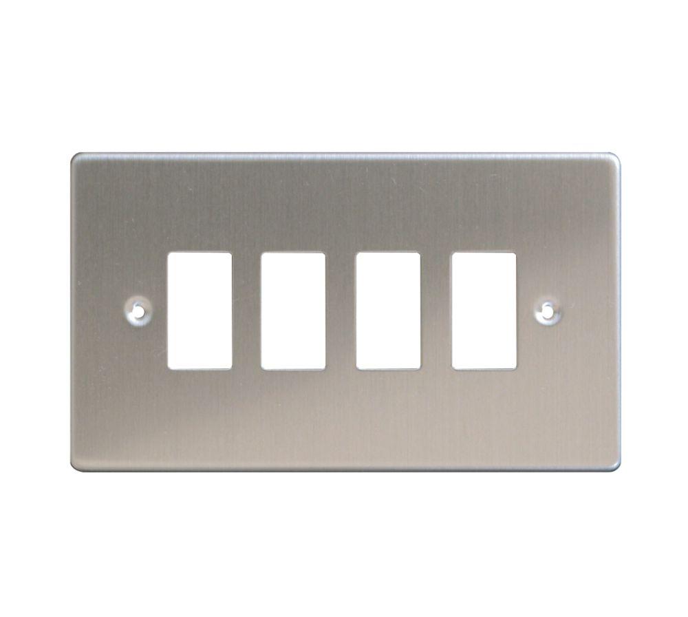 Varilight XDSPG4 4-Gang PowerGrid Faceplate Metal