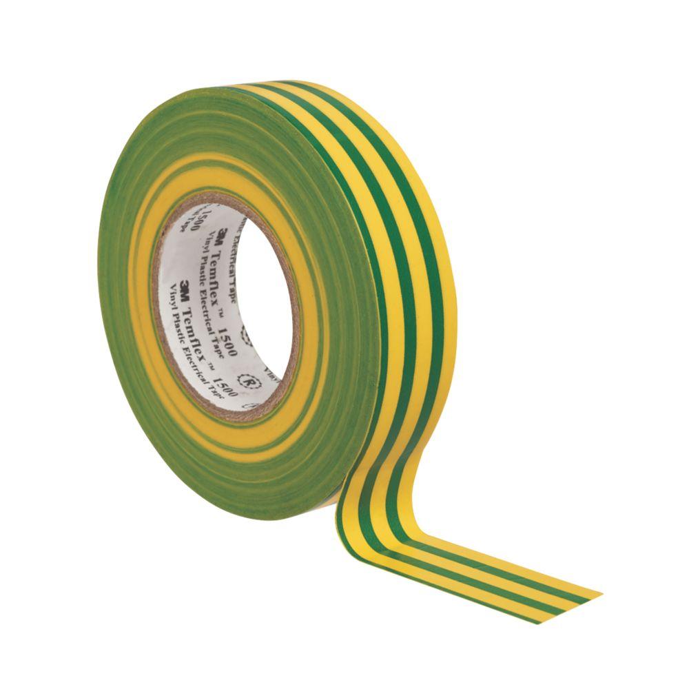 3M Temflex Insulating Tape Green / Yellow 25m x 19mm