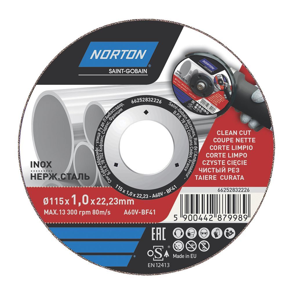 "Norton  Stainless Steel Metal Cutting Disc 4½"" (115mm) x 1 x 22.23mm"
