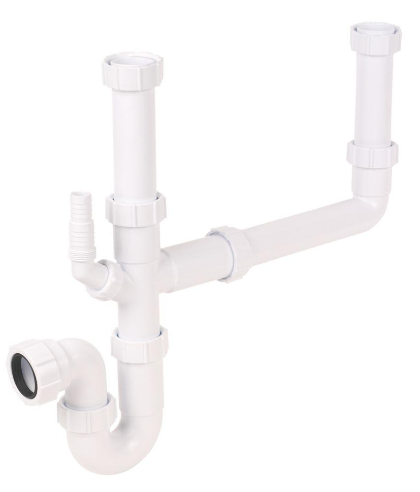 FloPlast Double Bowl Sink Trap Kit White 40mm