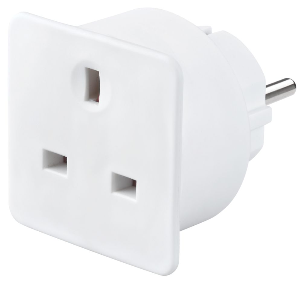 Masterplug  13A Unfused UK To Euro Travel Adaptor White