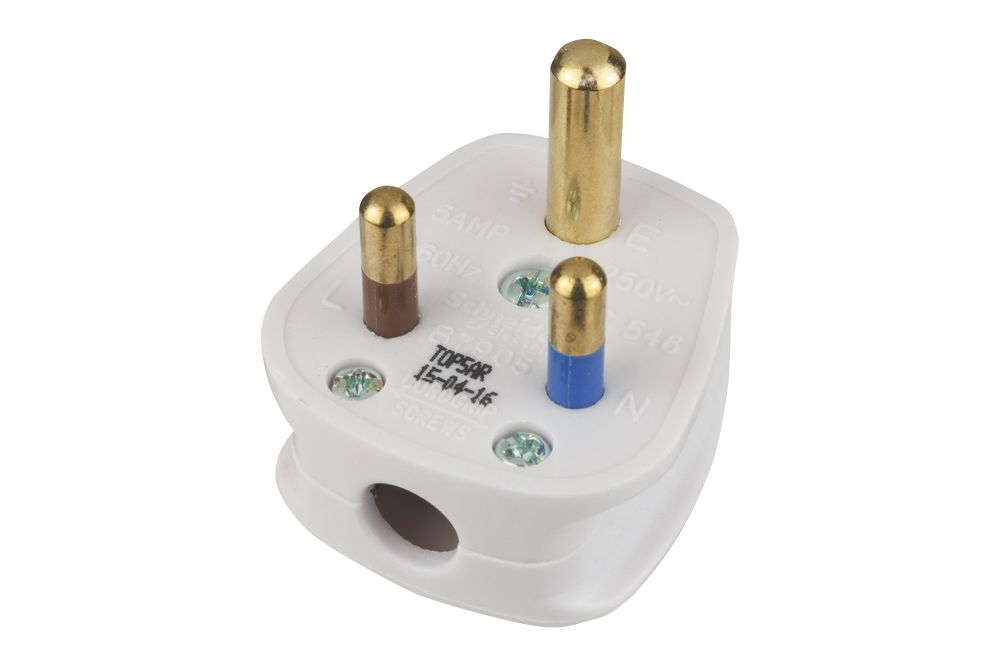 Schneider Electric Ultimate Slimline 5A Unfused Round Pin Plug White