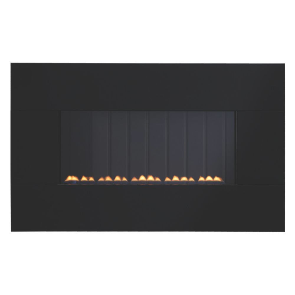 Focal Point Piano Black Rotary Control Gas Wall-Mounted Flueless Fire