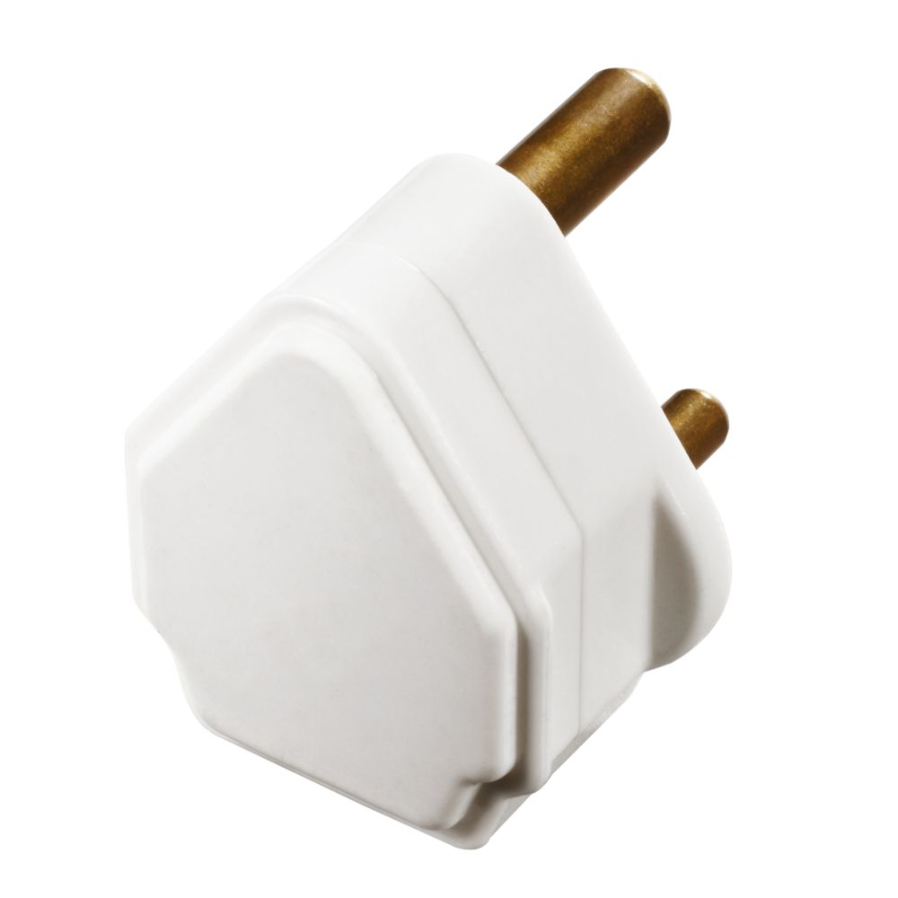 British General  5A Unfused Round Pin Plug White