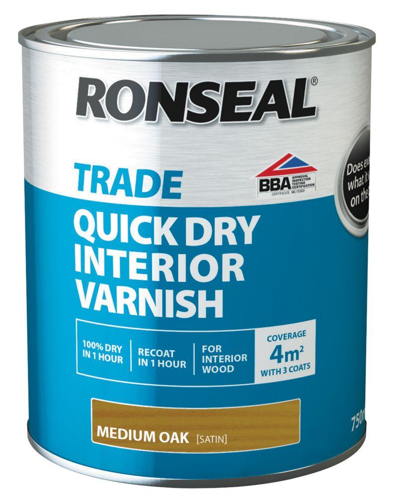 Ronseal Interior Varnish Satin Medium Oak 750ml