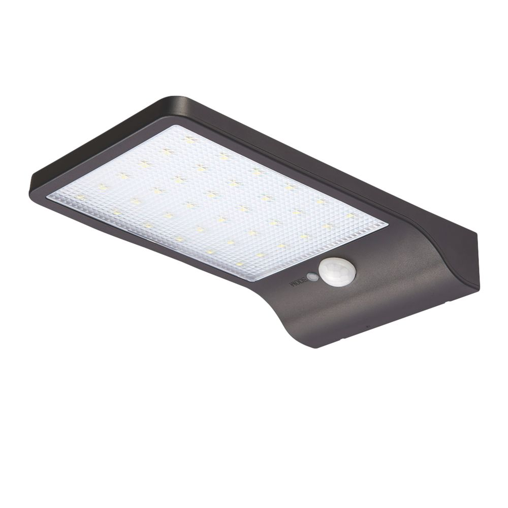 Snape LED Solar Floodlight With PIR Sensor Matt Black