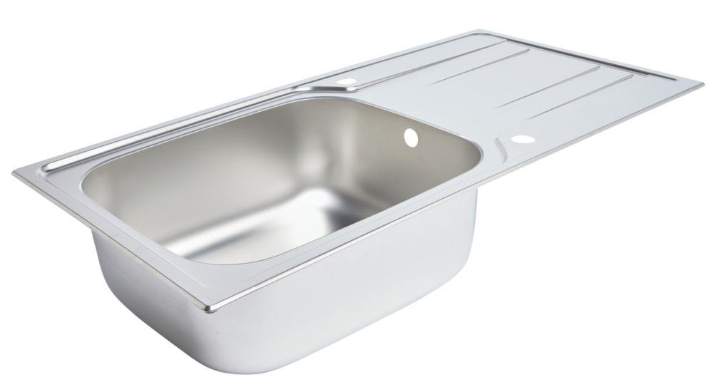 Kitchen Sink & Drainer Stainless Steel 1 Bowl 1000 x 500mm