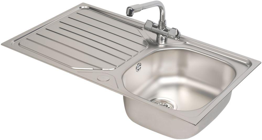 Franke Reno / Danube Stainless Steel Inset Sink & Mixer Tap 1 Bowl 860 x 500mm