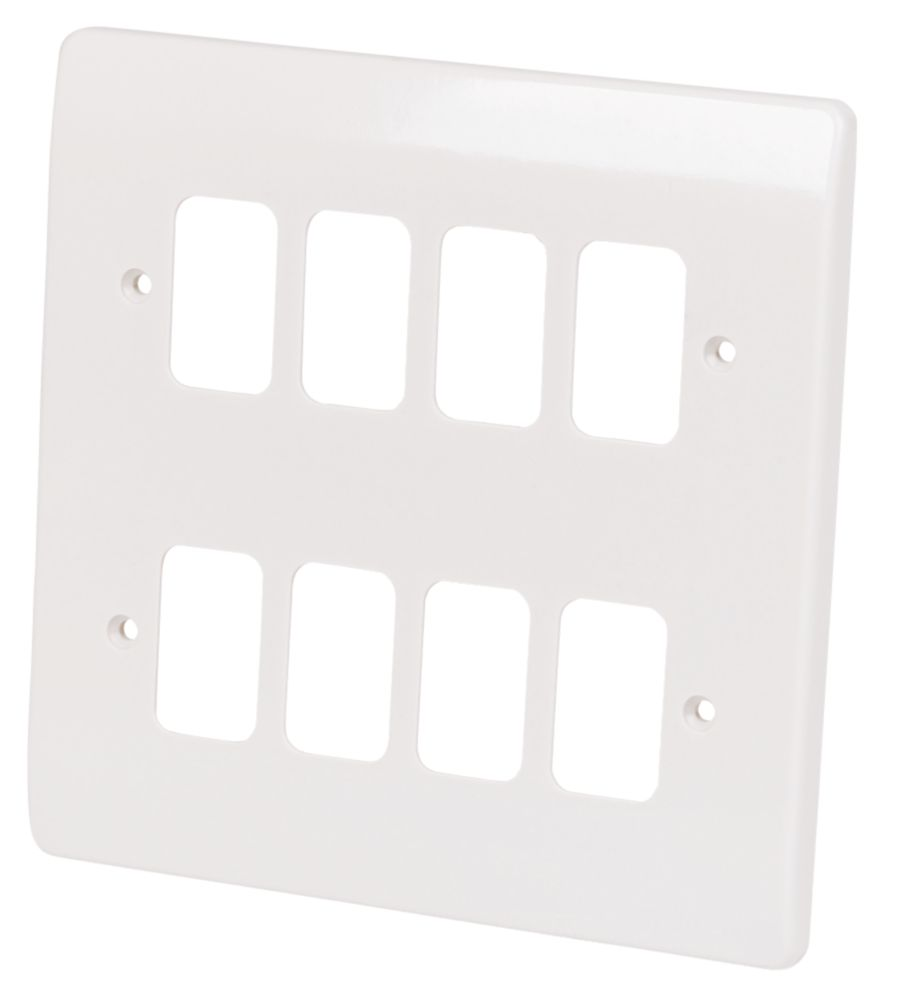 MK 8-Gang Front Plate White