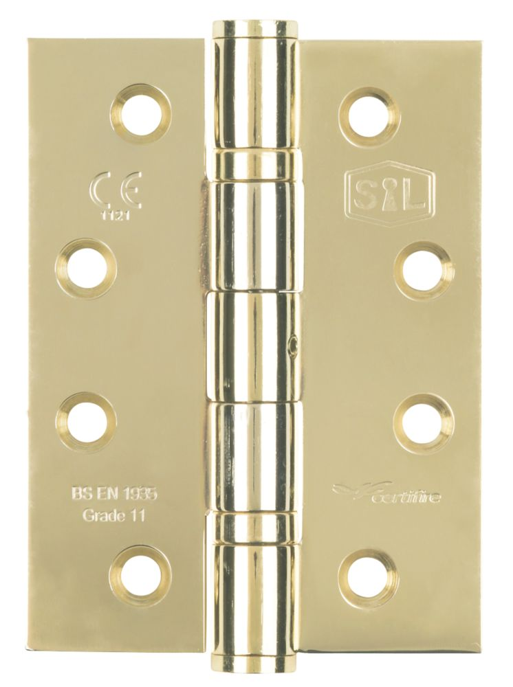 Smith & Locke Grade 11 Fire Door Ball Bearing Hinges Fire Rated 102 x 76mm 3 Pack
