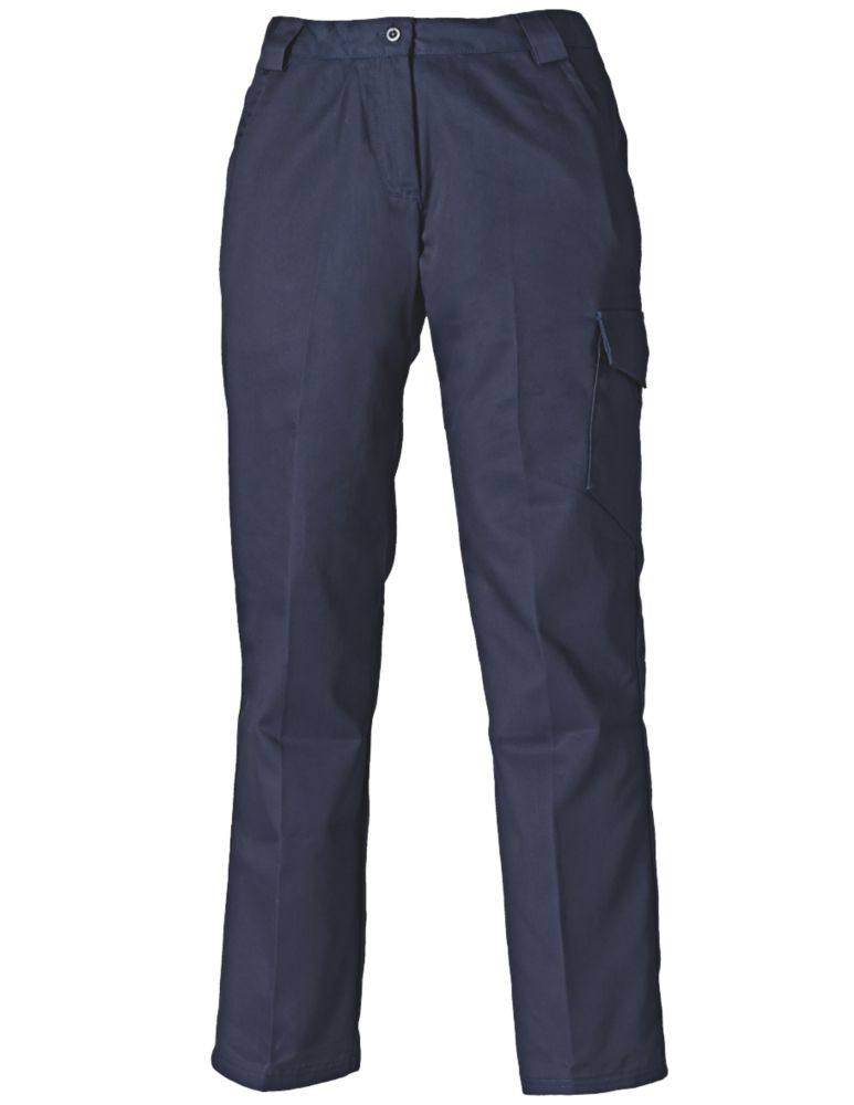 "Dickies Redhawk Ladies Work Trousers Navy Blue Size 10 31"" L"