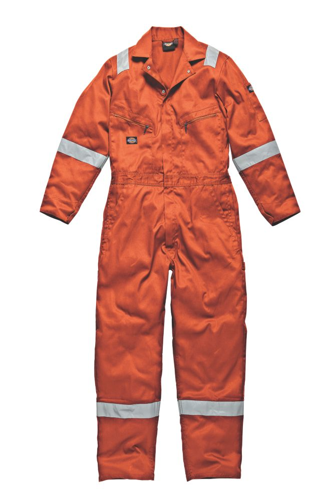 """Dickies WD2279 Zip Front Coverall Orange Small 36-38"""" Chest  L"""