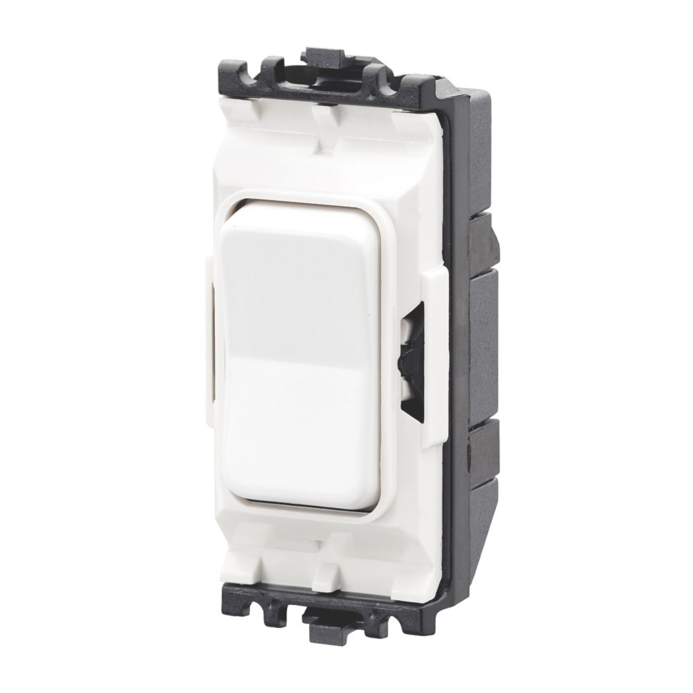 MK Grid Plus 20A 2-Way Grid Light Switch White with Colour-Matched Inserts