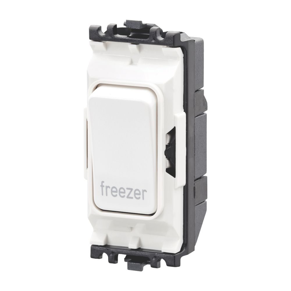 MK Grid Plus 20A Grid DP Freezer Switch White  with Colour-Matched Inserts