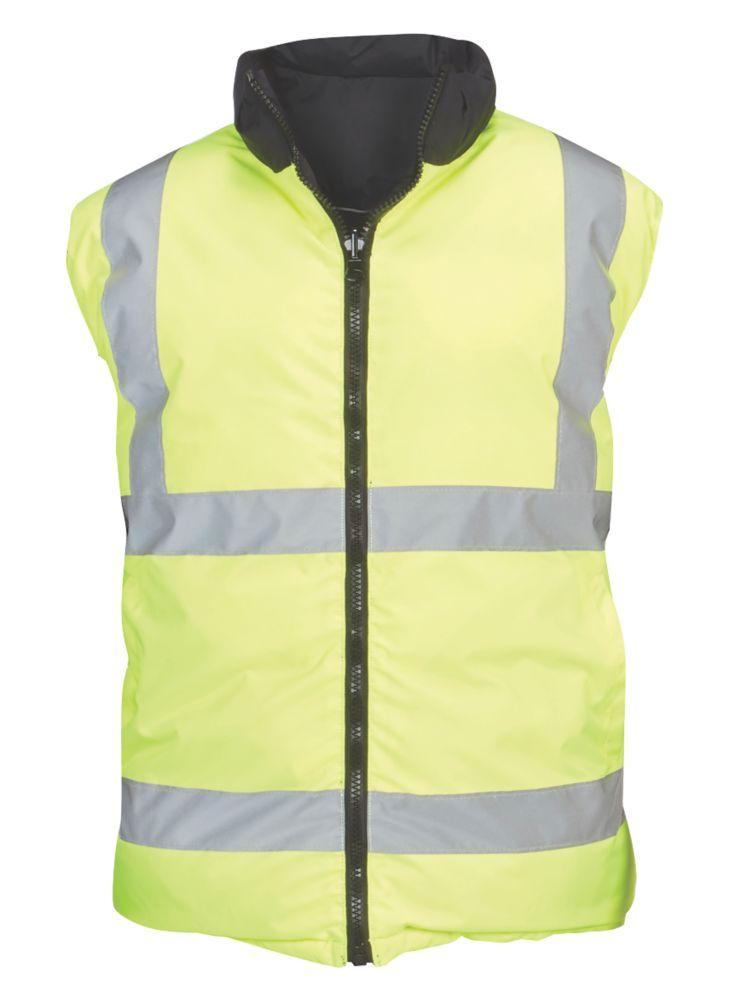 "Reversible Hi-Vis Body Warmer Yellow / Black Medium 39-43"" Chest"