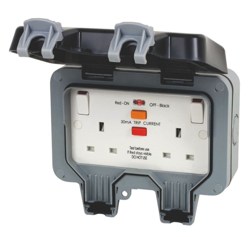 British General  IP66 13A 2-Gang SP Weatherproof Outdoor Switched Passive RCD Socket